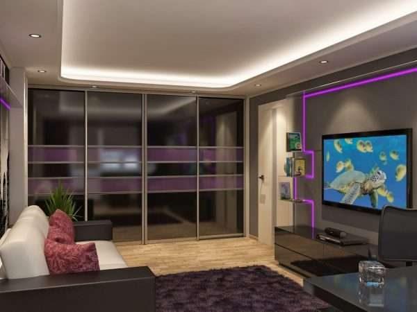 тёмный шкаф купе с фиолетовыми вставками в интерьере гостиной