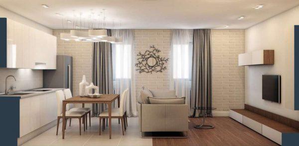 шторы в интерьере гостиной в минималистическом стиле