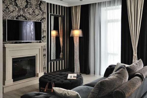шторы в интерьере гостиной в стиле арт-деко