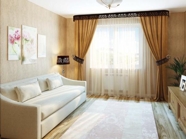 шторы в интерьере современной гостиной с ажурными подхватами