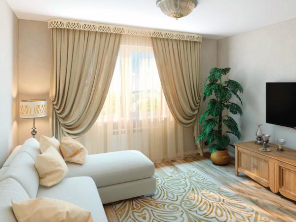 бежевые шторы в интерьере современной гостиной