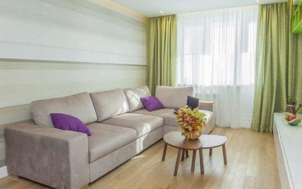 прямые шторы в интерьере современной гостиной