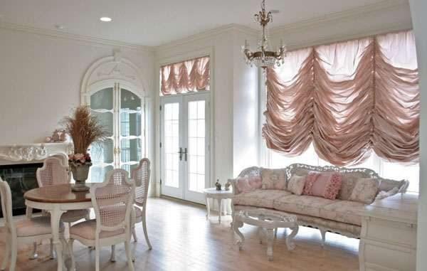 французские шторы для гостиной в современном стиле