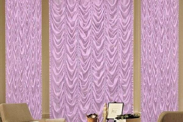 сиреневые шторы с воланами