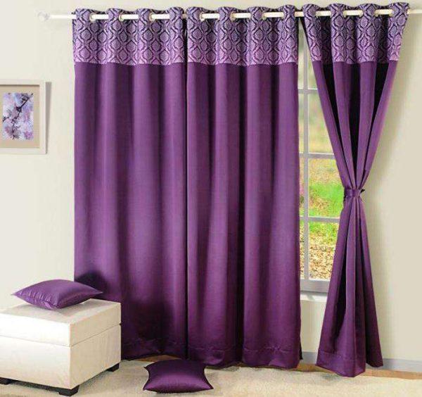 сиреневые шторы на люверсах для гостиной