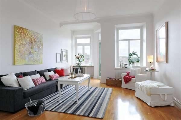 ковёр домотканый в гостиной в скандинавском стиле