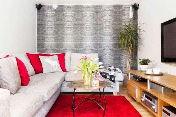 скандинавский стиль в гостиной с красным цветом