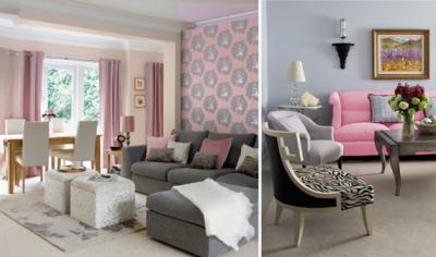 Сочетание серого и розового цветов в гостиной