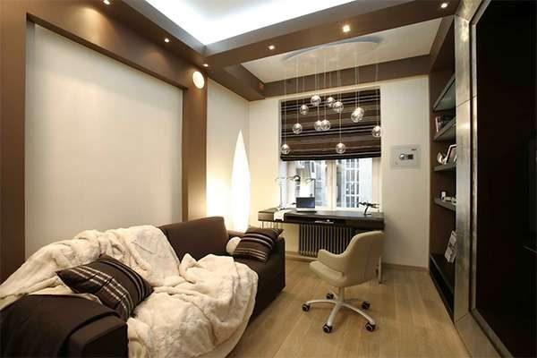 коричневый с белым в гостиной
