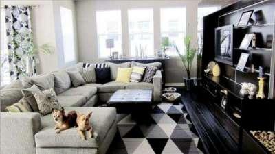 Сочетание чёрного и белого цветов в интерьере гостиной