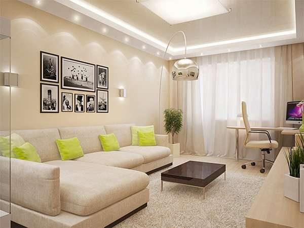 комбинирование бежевого и жёлтого цветов в гостиной