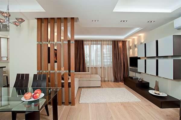 коричневый и белый цвет в гостиной