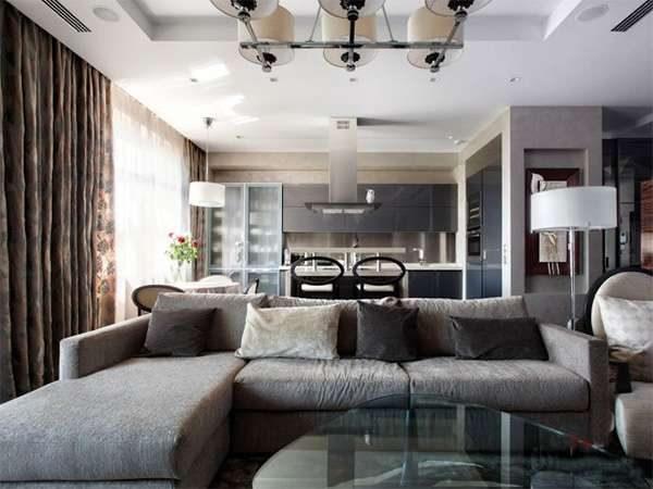 серые цвета в гостиной