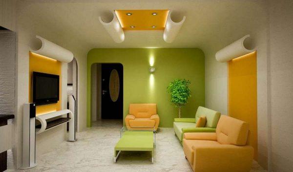 Сочетание жёлтого и зелёного цветов в гостиной