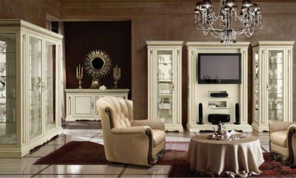 роскошная мебель в интерьере гостиной в стиле современной классики