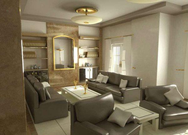 серая мебель с золотым декором в гостиной в современной классике