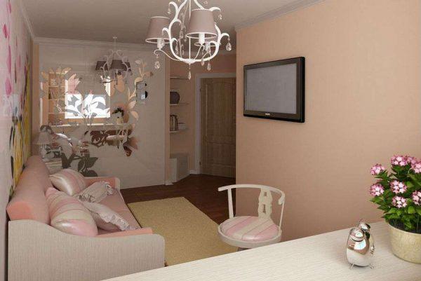 Современная классика в интерьере розовой гостиной