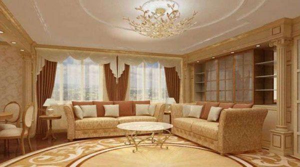 песочный цвет в гостиной в современной классике