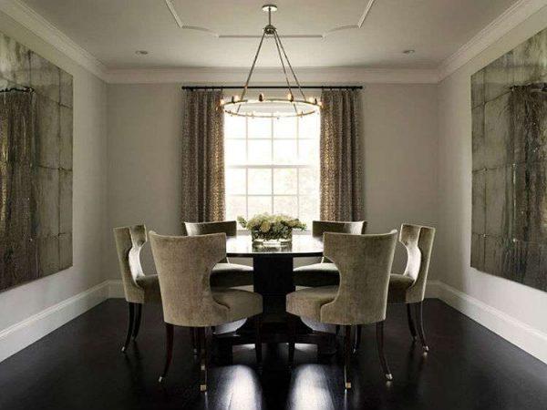 обеденная зона в гостиной в современной классике