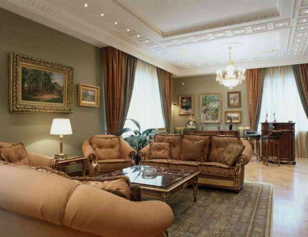 картины на стенах гостиной в современной классике