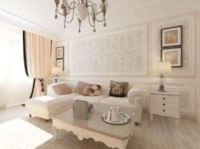 пастельный оттенок интерьера гостиной в современной классике