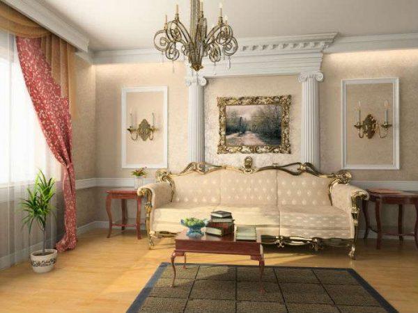 шторы в гостиной в современной классике