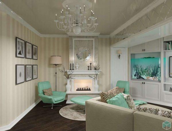 голубая мебель в гостиной в современной классике