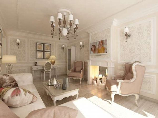 нежный розовый в гостиной в современной классике