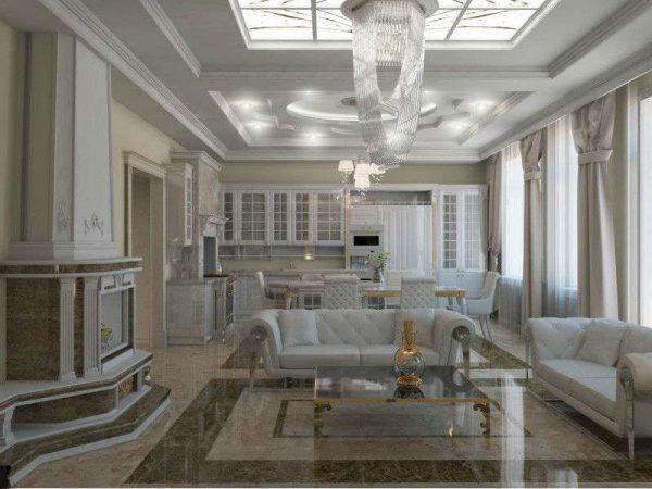 мрамор в гостиной в современной классике