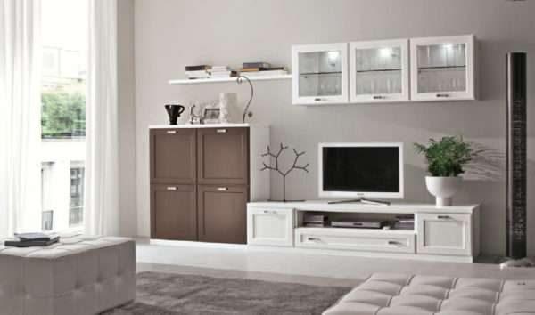 подвесные шкафы в интерьере гостиной