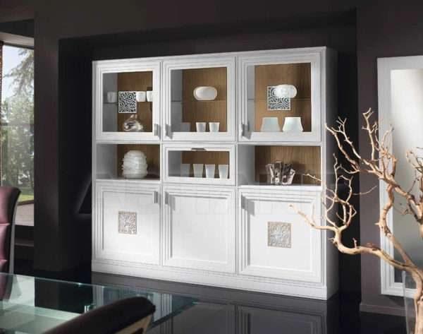 современная стенка витрина в интерьере гостиной
