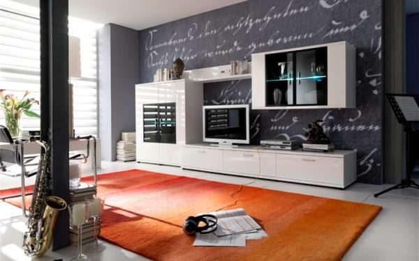 современный шкаф с тонированным стеклом в интерьере гостиной