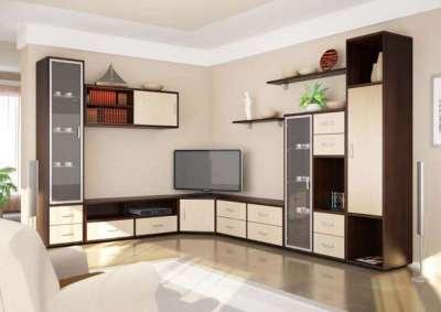 Дизайн угловой горки в гостиную