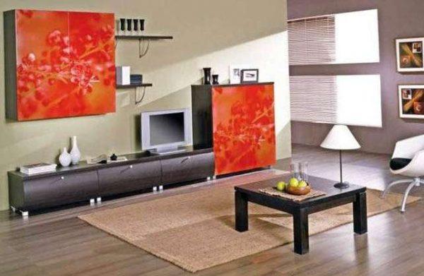 корпусная стенка горка в гостиной в японском стиле