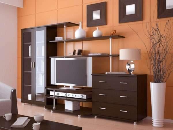 корпусная мебельная стенка горка с деревянными фасадми для гостиной