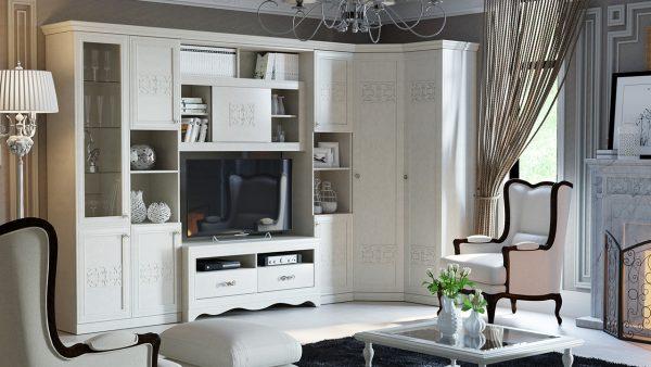 белый угловой шкаф в гостиной
