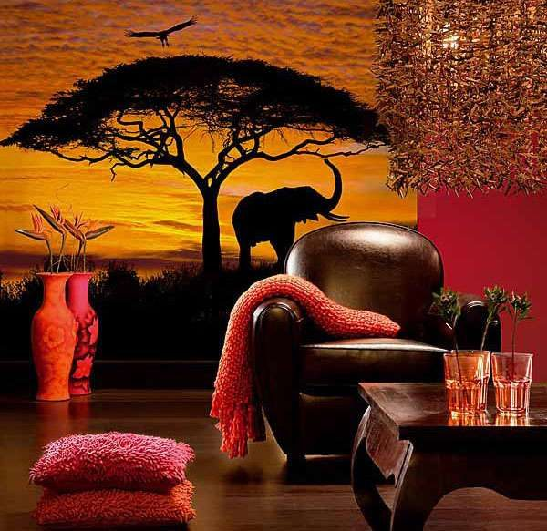 африканский стиль в гостиной