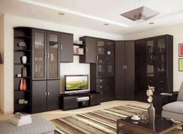 тёмная корпусная стенка со шкафом в гостиной