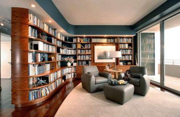 мебельная стенка с библиотекой в интерьере гостиной