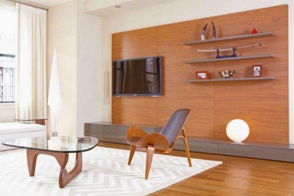 современная мебельная стенка в интерьере гостиной