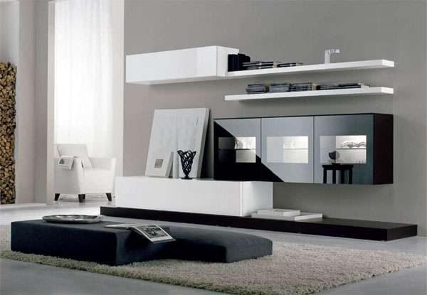 белая мебельная стенка в интерьере гостиной с навесными шкафами