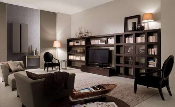 мебельная стенка с деревянного массива в интерьере гостиной