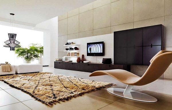 мебельная стенка в интерьере гостиной в стиле минимализм