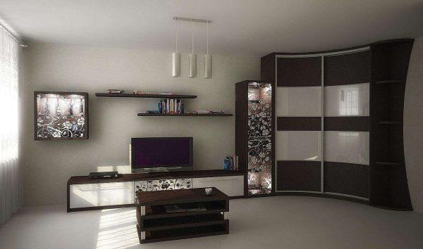 угловой шкаф с поверхностью лакомат в интерьере гостиной