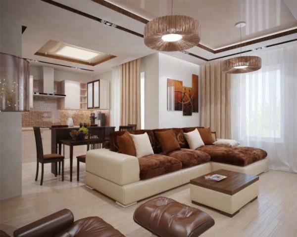 угловой коричневый диван в интерьере гостиной