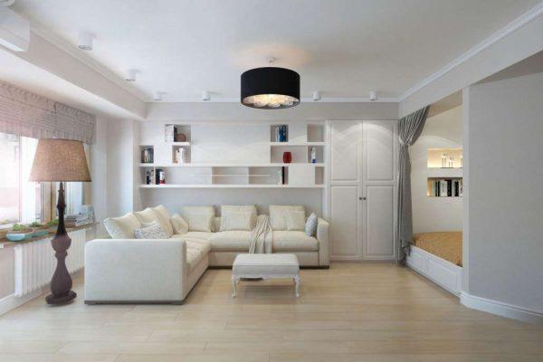 белый угловой диван в интерьере гостиной