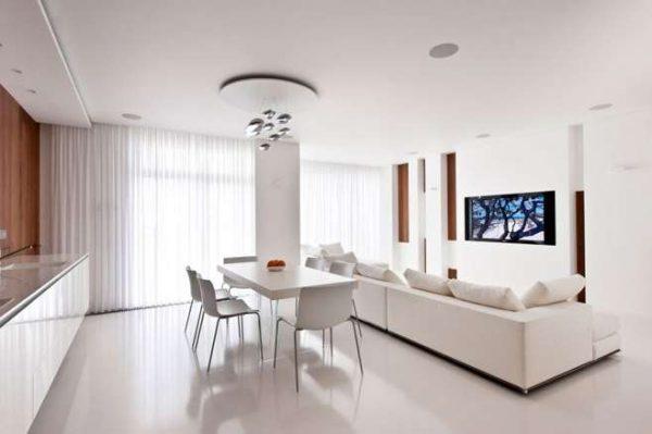 стиль минимализм в интерьере кухни гостиной 20 кв.м