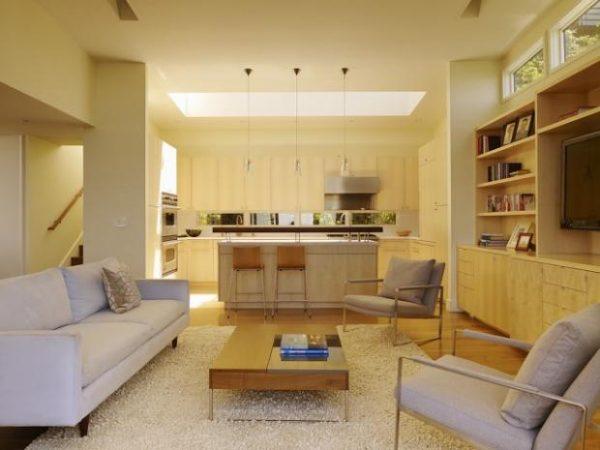 зонирование мебелью в кухне гостиной 20 кв. метров