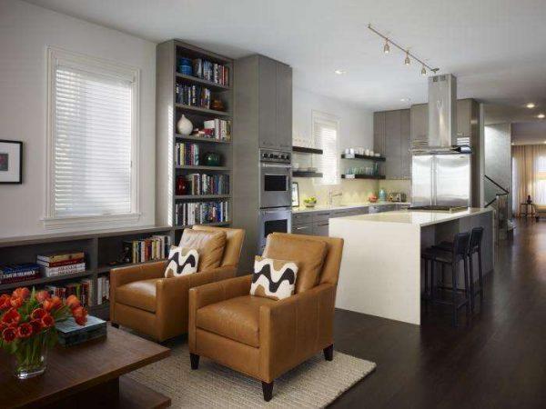 зонирование мебелью в интерьере кухни гостиной 20 кв. метров