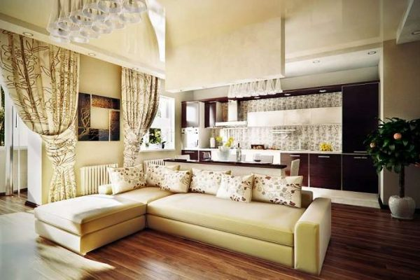 зонирование кухни гостиной 20 кв.м. со сносом стен